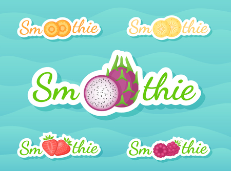 Slice fruit smoothie drink sticker logo set vector illustration. Fresh vegetarian smoothies drink sticker with fruits and tag Smoothie for decoration emblem, sale offer banner or promo graphic poster