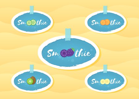 Fruit and berrie smoothie cocktail sticker set vector illustration. Sign Smoothie on blue background in white hand drawn frame on smoothies drink cocktail sale offer banner or promo graphic poster Иллюстрация