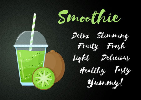 Green natural smoothie kiwi shake vector illustration. Sign Smoothie on black background, glass with cup and straw, filled with sweet tasty green smoothies drink cocktail for healthy detox web banner Illustration