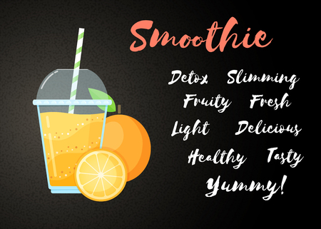 Orange natural smoothie fruit shake vector illustration. Fresh vegetarian smoothies drink with orange layers in glass. Raw fruit and sign Smoothie for drink energy promo landing page or fast food menu Illustration