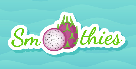 Pitaya sticker fruit smoothie shake logo set vector illustration. Vegetarian smoothies drink label with raw fruit and tag Smoothie for decoration shop sticker, promo discount or sale offer banner