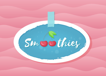 Red smoothie cherry cocktail sticker vector illustration. Natural fruit with hand drawn Smoothies sign at fresh smoothies cocktail blue round sticker for decoration shop label or sale offer banner Иллюстрация