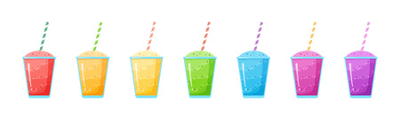 Natural fruit smoothie rainbow colection vector illustration. Sweet protein shake or vegeterian juicy cocktail set in glass cup with straw for smoothie social media promotion banner Иллюстрация
