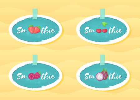 Blue sticker smoothie fruit set vector illustration. Natural fruit with Smoothie sign in white frame. Fresh smoothies cocktail blue round sticker for decoration emblem or advertising graphic poster