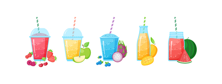 Healthy diet smoothie drink set vector illustration. Glass and bottle with straw and layered fresh cocktail in rainbow colors with collection of raw fruit smoothie banner isolated on white background
