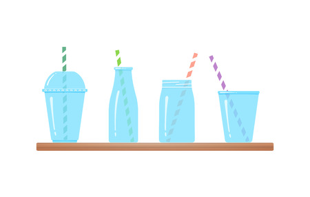Set of drinking glasses isolated vector illustration. Transparent drinking glass and jar, bottle and plastic glass fro fresh beverages, smoothies or ice cream with colorful striped straw at wooden bar