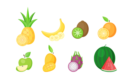 Set of tropical fruits with slices cartoon vector illustration. Fresh natural fruit collection in flat style isolated on white background for restaurant menu design or organic market fruit banner.