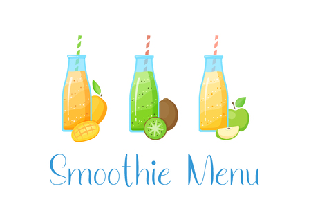 Healthy diet smoothie drink set vector illustration. Glass bottle with straw and layered fresh cocktail with collection of raw fruit, isolated on white background for cafe smoothie menu banner