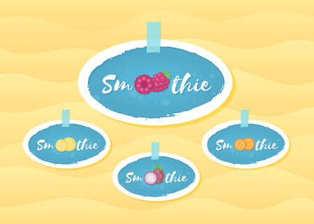 Fruit and berry smoothie drink sticker set vector illustration. Sign Smoothie on blue background in hand drawn frame on smoothies drink cocktail sticker for decoration shop label or sale offer banner