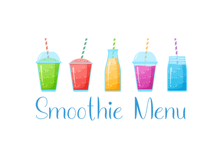 Natural fruit smoothie rainbow logo vector illustration. Sweet protein shake or vegeterian juicy cocktail set in glass cup with straw isolated on white background for smoothie social media banner