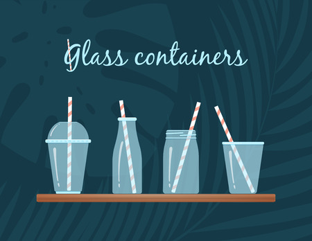 Drinking glasses collection with straw vector illustration. Transparent glass containers with striped straw at wooden bar on tropical background for natural fresh cocktails, smoothies or milkshakes
