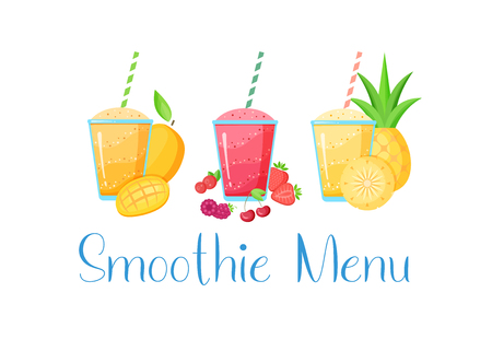 Set of smoothie banner vitamin drink vector illustration. Tasty natural fruit, glass with colorful layers of smoothies cocktail isolated on white background, Smoothie Menu sign for detox web banner Иллюстрация
