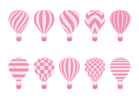 Hot air balloon isolated monochrome vector set. Collection of balloons with patterns zig zags, wavy lines, striped or checkered with basket and hot air in retro style for flight concept design Иллюстрация