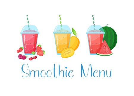 Vegeterian smoothie shake cocktail collection vector illustration. Set of glass with layers of sweet vitamin juice cocktail or protein shake with fresh fruits isolated on white background
