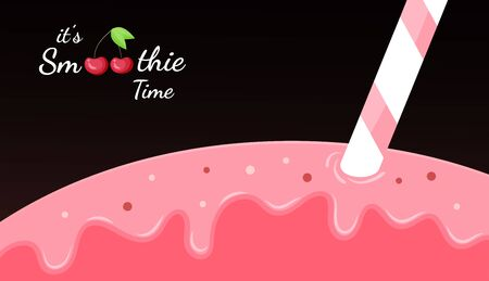 Red cherry smoothie vitamin drink vector illustration. Tasty natural berry, colorful layers of smoothies cocktail splash or frozen yogurt drops, smoothie logo for fast food menu design.