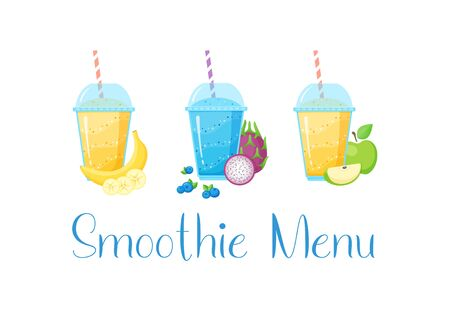 Smoothie vitamin drink set vector illustration. Fresh vegetarian smoothies drink with colorful layers in glass, raw fruit and sign Smoothie Menu isolated on white background for fitness landing page Иллюстрация