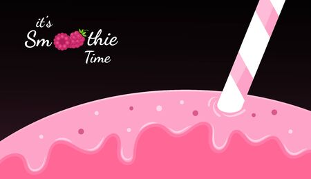 Red raspberry smoothie vitamin drink  illustration. Berry smoothie icon on black background, closeup red smoothies drink or ice cream splashes for summer fast food season menu. Иллюстрация