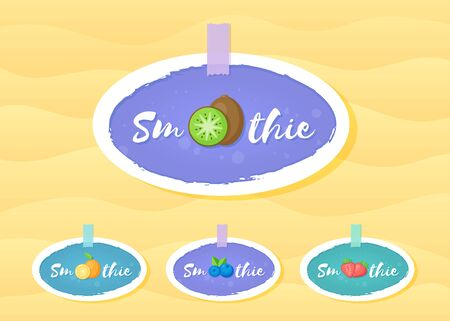 Fruit and berry smoothie drink label  set illustration. Sign Smoothie on blue background in white hand drawn frame on smoothies cocktail label for decoration shop label or sale offer banner