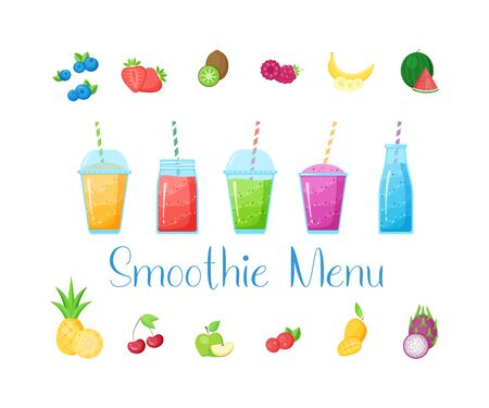 Vitamin smoothie cocktail set illustration. Fresh juice shaken energy cocktail in glass, isolated on white background, rainbow colors with fruit collection for vitamin beverage menu