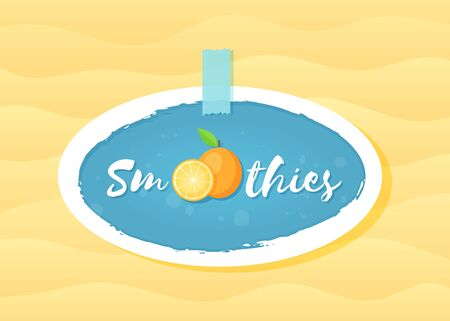 Blue sticker smoothie fruit  illustration. Tasty natural orange with Smoothie sign at fresh smoothies cocktail sticker for decoration emblem, sale sticker or promo graphic poster Иллюстрация
