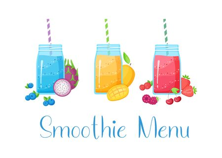 Set of smoothie fruit cocktail  illustration. Tasty natural fruit, jar with colorful layers of smoothies cocktail isolated on white background and Smoothie Menu sign for summer bar design