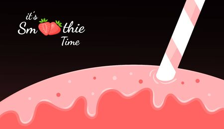 Red smoothie fruit shake illustration. Fresh smoothies drink with strawberries smoothie icon for drink energy promo landing page or summer fast food season menu.