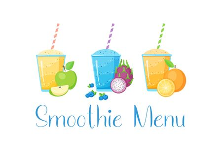 Set of fruit smoothie cocktail illustration. Fresh smoothies drink with colorful layers in glass and raw fruits isolated on white background for fast food menu design or detox banner Иллюстрация
