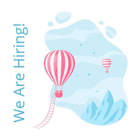 Social media hot air balloon hiring illustration. Web page concept with vacancy announce, red hot air balloon with ladder at blue mountain landscape and hiring message for social media banner Иллюстрация