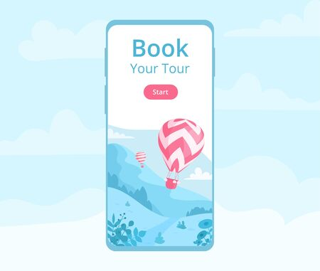 Hot air balloon mobile app template illustration. Landing page for online book mobile application with red hot air balloon, landscape with mountain and cloudy sky for travel adventure booking website Иллюстрация