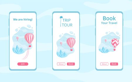 Mobile app template with hot air balloon  illustration set. Travel online booking service concept, job hiring offer mobile app template with red hot air balloon on blue mountain landscape.