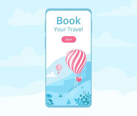 Mobile app hot air balloon booking  illustration. Ui application online booking concept for mobile phone screen with red hot air balloon at blue mountain landscape for travel reservation website