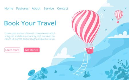Hot air balloon website booking page template  illustration. Landing page adventure booking concept with red hot air balloon at blue mountain landscape for travel web page interface layout