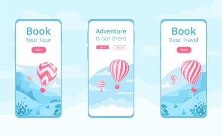 Mobile app template with hot air balloon  illustration set. Travel online booking service, adventure book app concept at mobile phone screen with red hot air balloon on blue mountain landscape
