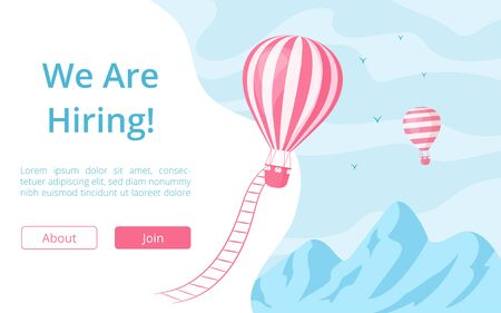 Hiring offer hot air balloon website illustration. Job offer message at landing web page vector template with red hot air balloon at blue mountain landscape for team vacancy recruitment advertisement Иллюстрация