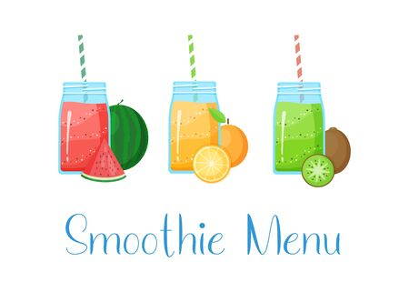 Set of smoothie banner vitamin drink vector illustration. Fresh vegetarian smoothies drink with colorful layers in glass, fruits isolated on white background and sign Smoothie Menu for fitness concept