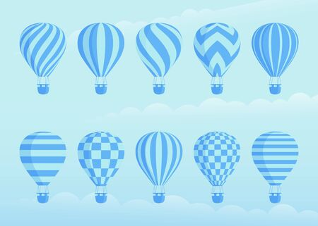 Collection of duotone vector hot air balloons. Zig zags, wavy lines, striped or checkered patterns on vintage style hot air balloon with basket at cloud background for sky holiday adventure design Çizim