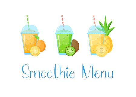 Natural fruit smoothie shake colection vector illustration. Sweet protein shake or vegeterian juicy cocktail set in glass cup with straw isolated on white background for smoothie social media banner