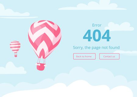 Hot air balloon with red zig-zags on blue sky scape with warning message, error 404, sorry page not found, and interface template for travel website or booking mobile app 404 error concept