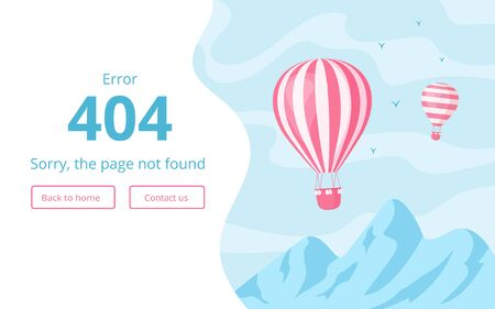 Website interface template for 404 error message vector illustration. Hot air balloon on blue landscape with mountains and error warning sign, 404 page not found, for mobile app or website page
