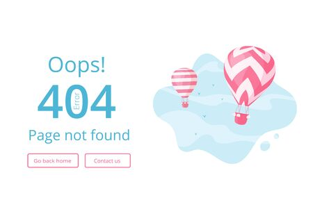 Error 404 page template website vector illustration. Hot air balloon with red stripes on blue skyscape with warning error message Oops, 404, Page not found for travel booking website or mobile app