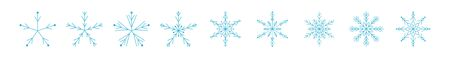Set of icy snowflakes symbol vector illustration. Blue line frozen snowflake isolated on white background for new year celebration snow decoration ornament or christmas festive frost flakes design