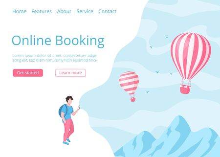 Hot air balloon online booking website template vector illustration. Landing page online travel concept with man and mobile phone, using mobile booking app for hot air balloon travel reservation Illustration