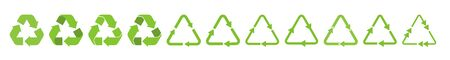 Recycle triangle arrow symbols set vector illustration. Green solid pictograms of reuse or recycling process, arrow cycle in triangle shape isolated on white background for enviromental infographic Çizim