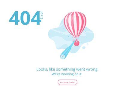 Message d'avertissement d'erreur du concept 404 pour le site Web, la bannière ou la présentation avec l'homme et le spyglass à la recherche d'une page manquée sur la montgolfière dans le ciel bleu. Illustration vectorielle pour la page d'application mobile d'erreur 404 Vecteurs