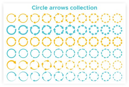Solid circular arrows symbols collection vector illustration. Reuse or process icon and reset or process pictogram, circle arrows set isolated on white background for presentation or infographic