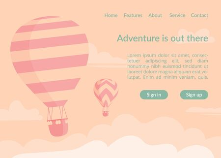 Hot air balloons website landing page vector template. Two retro duotone style hot air balloons in sky cloud landing web template and adventure travel slogan for sky vacation promotion design.