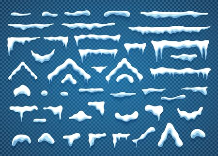 Snowcaps with snowflakes and icicles vector illustration collection. Horizontal and triangle white snow caps with icicle and snowflake isolated on blue background for winter ornament decoration Vettoriali