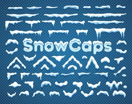 Snowcaps con fiocchi di neve e ghiaccioli illustrazione vettoriale raccolta. Berretti da neve orizzontali e triangolari bianchi con decorazione di ghiacciolo e fiocco di neve Etichetta SnowCaps su sfondo blu per ornamento invernale Vettoriali