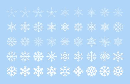 Icy snowflakes winter decoration collection vector illustration. Set of flat blue line snowflake icons on white background for new year celebration design or winter season festive ormament decoration