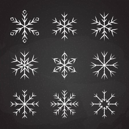 Set of icy snowflakes symbol vector illustration. White chalk sketch frozen snowflake isolated on blackboard for new year celebration snow decoration ornament or christmas festive frost flakes design Illustration